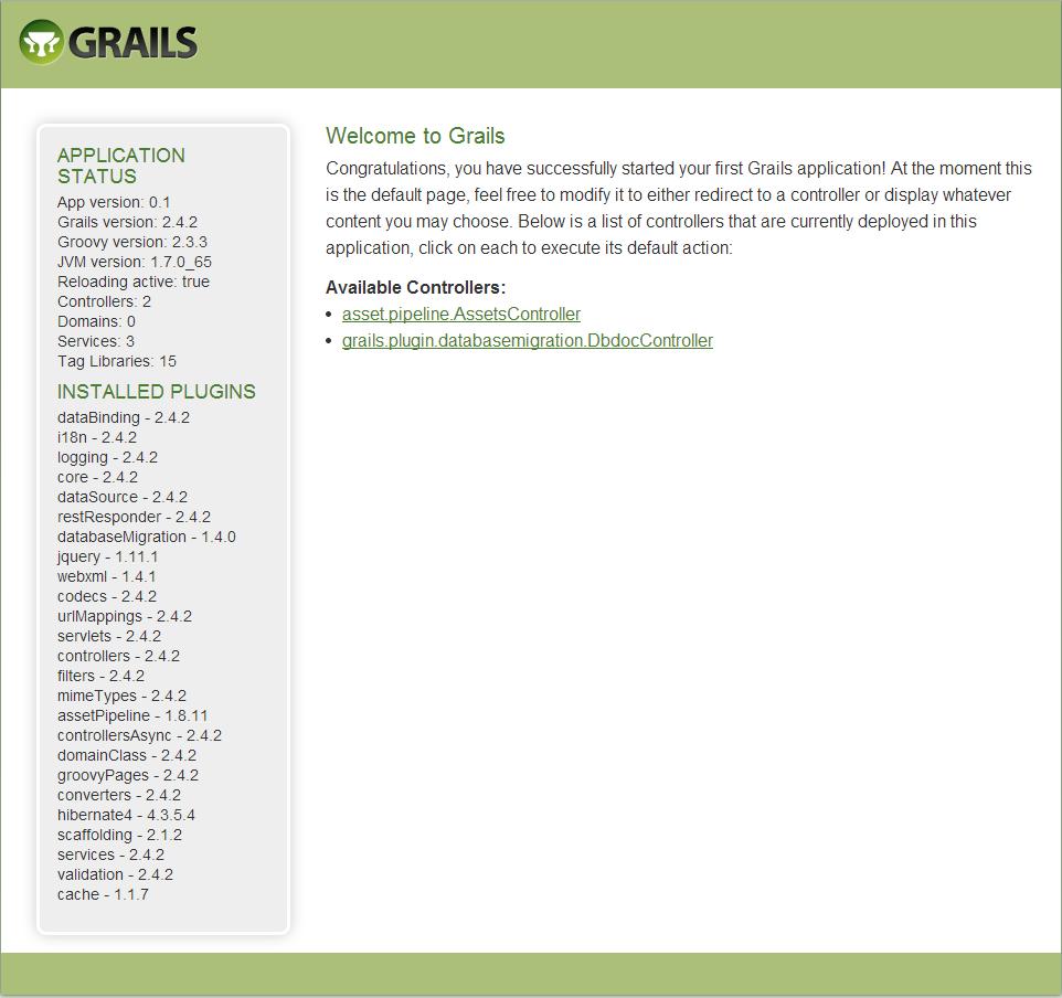 Page d'accueil Grails